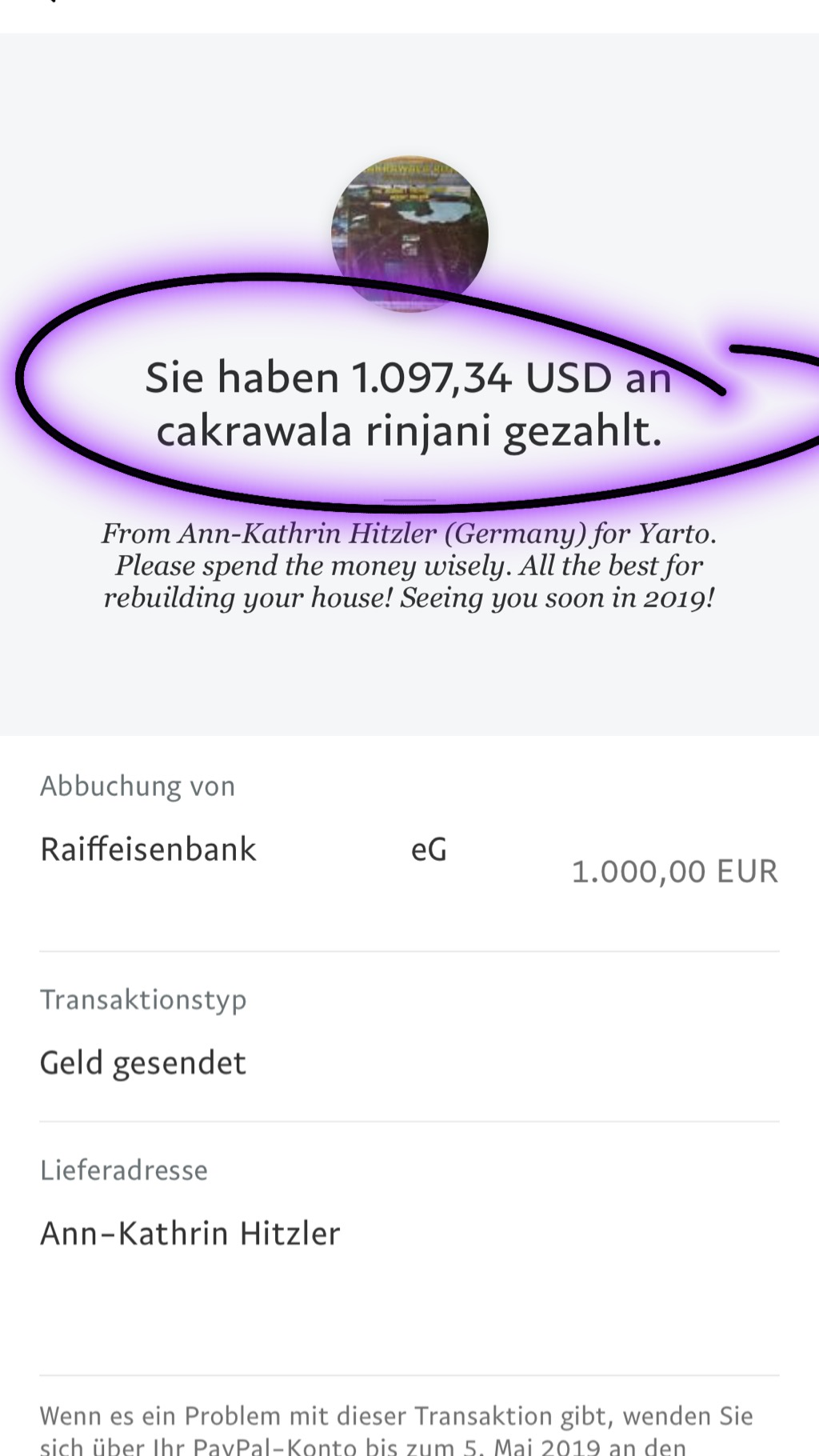 PayPal Lombok Ann-Kathrin Hitzler Fundraising
